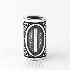 Руна Иса - серебро, бусина
